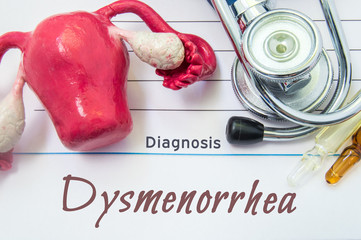 Diagnosis of Dysmenorrhea. Medical history of patient with Diagnosis of Dysmenorrhea inscription next stethoscope, uterus with ovaries figure, ampoule with medicine. Treatment and diagnostic concept
