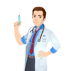 Caucasian doctor holding medical injection syringe. Young doctor standing with syringe. Doctor holding syringe ready for injection.