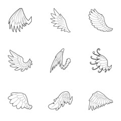 Wings of angel icons set, outline style