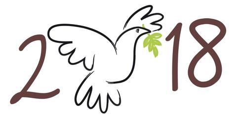 2018 - carte de vœux - colombe de la paix - symbole - fraternité - solidarité