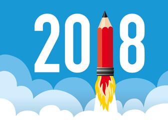 2018 - carte de vœux - année - design - présentation - concept - créative
