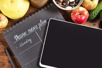 Vegan Menu Plan with Digital Tablet