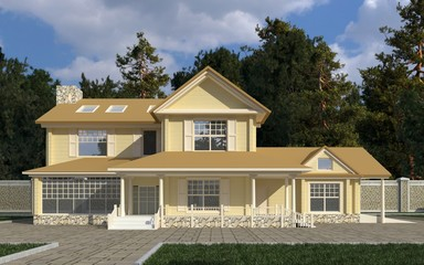 House Photorealistic Render 3D Illustration