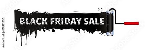 Black Friday Sale Banner Mit Farbrolle Und Schwarze Farbe Banner