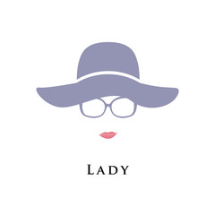 Lady in hat and glasses. Beautiful portrait. Vector illustration.