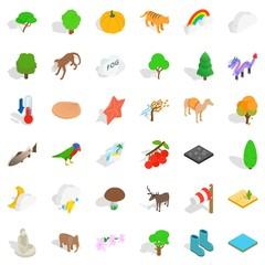 Zoo icons set, isometric style