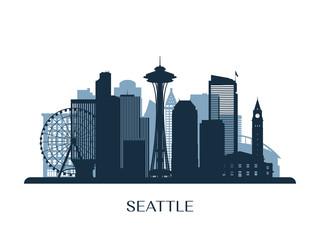 Seattle skyline, monochrome silhouette. Vector illustration. Wall mural