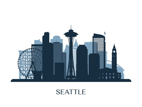 Seattle skyline, monochrome silhouette. Vector illustration.