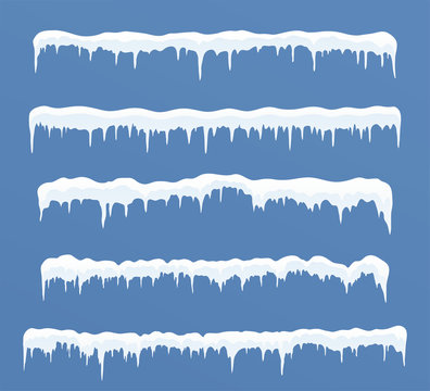 Set of long ice caps. Snowdrifts, icicles, elements winter decor