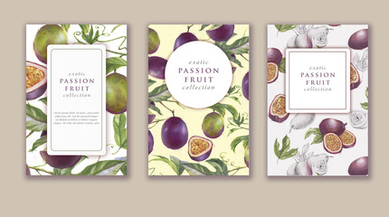 Hand drawn watercolor banner set with ripe passion fruits. Card design for sweets and pastries filled with berry, candy, yogurt, dessert menu, health care products. With place for text