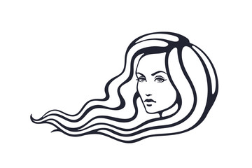Vector illustration. Hand drawn sketch of beautiful woman with long hairs that fluttering on the wind. Face of young pretty girl with curly hairs. Fashion and hairstyle. Isolated on white background