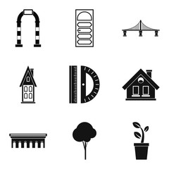 Drawing work icons set, simple style