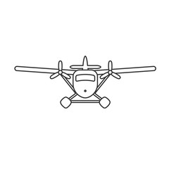 Black isolated outline icon of hydroplane on white background. Line Icon of seaplane.
