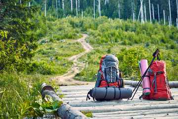 Backpacks in the woods in the mountains on a wooden bridge.