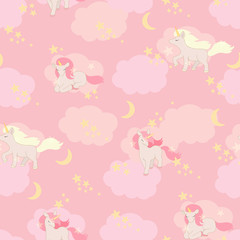 Unicorns seamless pattern. Vector elements for design
