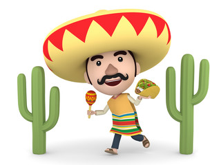 Mexican man with maracas and tacos, 3D illustration