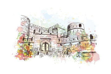 Watercolor sketch of Agra fort India in vector illustration.