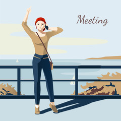 Meeting Girl Illustration