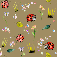 Seamless pattern with watercolor cute cartoon ladybugs and simple flowers, hand drawn isolated on a brown background