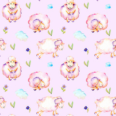 Seamless pattern with watercolor cute pink sheeps, simple flowers and clouds illustrations, hand drawn isolated on a tender pink background