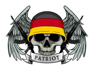 Military skull or patriot skull with GERMANY flag Helmet and Wings Background and ak47 Gun
