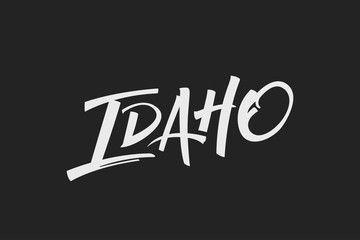 Idaho USA State Word Logo Name Hand Painted Brush Lettering Calligraphy Logo Template