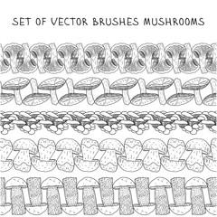 Set of vector borders Brush mushrooms.