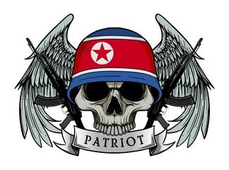 Military skull or patriot skull with NORTH KOREA flag Helmet and Wings Background and ak47 Gun