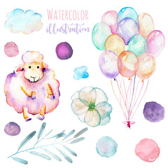 Set of watercolor cute pink sheep, air balloons, simple flowers and blots illustrations, hand drawn isolated on a white background