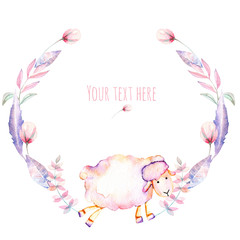 Circle frame, wreath with watercolor cute sheep and pink flowers, hand drawn on a white background