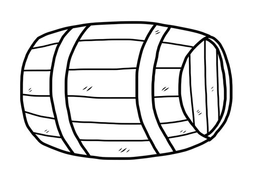 wooden barrel / cartoon vector and illustration, black and white, hand drawn, sketch style, isolated on white background.