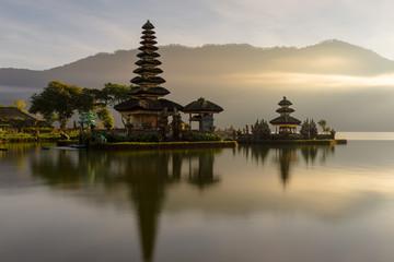 Pura Ulun Danu Bratan temple on Bratan lake, a famous  attraction in Bali, Indonesia
