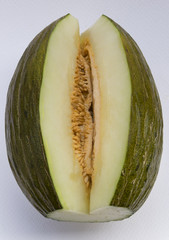 Interior del melón. Fruta de la época de verano muy sabrosa y refrescante.