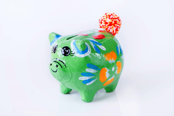 colorful piggy bank isolate on white background