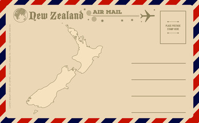 Vintage postcard with map of New Zealand