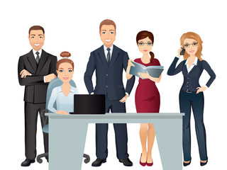 Meeting business people. Teamwork. Office team discussing and brainstorming. / Vector illustration, flat design on white background