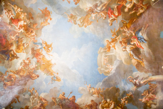 Painting On The Ceiling In Palace Of Versailles
