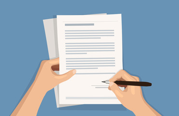 Flat vector illustration of man writing signature on contract document on blue background