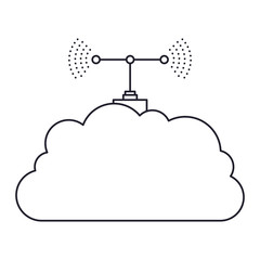 cloud service and transmission antenna icon in monochrome silhouette vector illustration