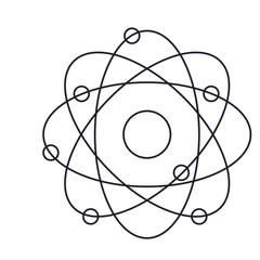 atom icon in monochrome silhouette vector illustration