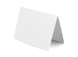 Vector realistic blank bent paper card isolated on white background