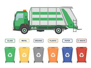 Garbage truck and garbage cans isolated on white background. Ecology and recycle concept. Vector illustration.