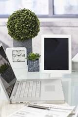 Closeup photo of tidy desktop