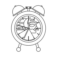 alarm clock with night moon landscape inside decorative sketch silhouette on white background vector illustration