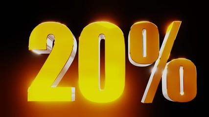 gold twenty percent 20% 3d illustration