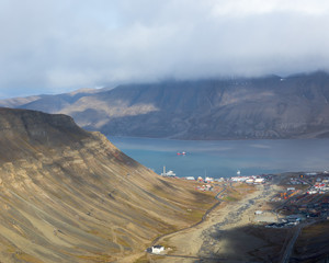 View from Sarkofagen mountain above Longyearbyen town