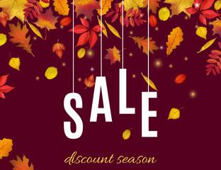 Autumn discount sale banner template with fall leaves on dark brown background. Shop market poster for your design. Vector illustration