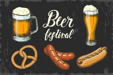 Oktoberfest set with hand drawn beer, pretzel, sausage and hod dog. Hand made lettering. Sketch. Oktoberfest objects for menu, poster, banner, flyer, brochure, web, advertising