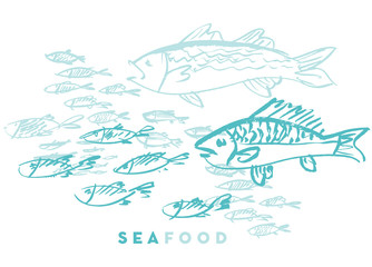 seafood fish and wave abstract hand drawn design elements for menu, poster, invitation. vector traced graphic illustration