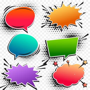 colorful comic pop art chat bubble set